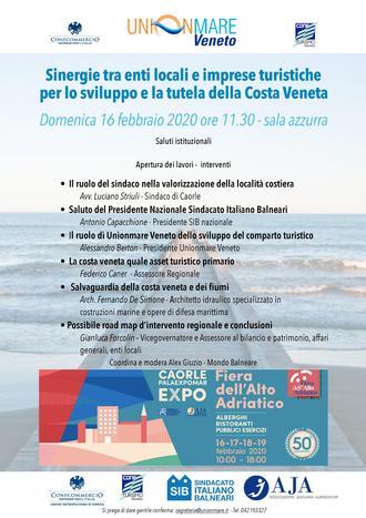"""Save the Date: """"Sinergie tra enti locali ed imprese turistiche per lo sviluppo e la tutela della Costa Veneta"""" il 16 febbraio, alle ore 11:30, presso la Fiera dell'Alto Adriatico"""