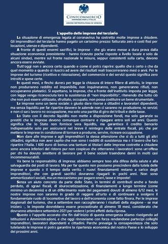 Decreto liquidità: l'appello delle imprese del terziario