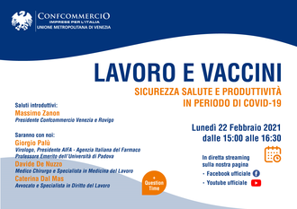 Webinar: Lavoro e vaccini, sicurezza salute e produttività in periodo di Covid-19 - Lunedì 22 febbraio 2021