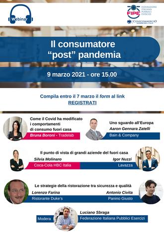 """FIPE: Webinar """"Il consumatore """"post"""" pandemia"""" - 09.03.2021 ore 15.00"""