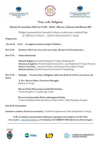 Il Pane nelle Religioni: ritorna sabato 25 settembre, alle ore 17:00, al Chiostro M9 di Mestre il Dialogo tra rappresentanti delle fedi